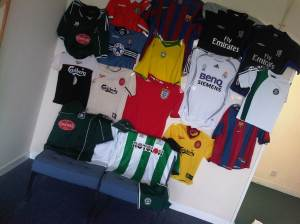 These are the football shirts collected by Aspire Europe for the PRINCE2 for Africa trip